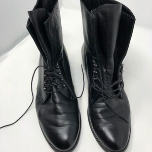 Stuart Weitzman Nappa Leather Lace Up Ankle Boots